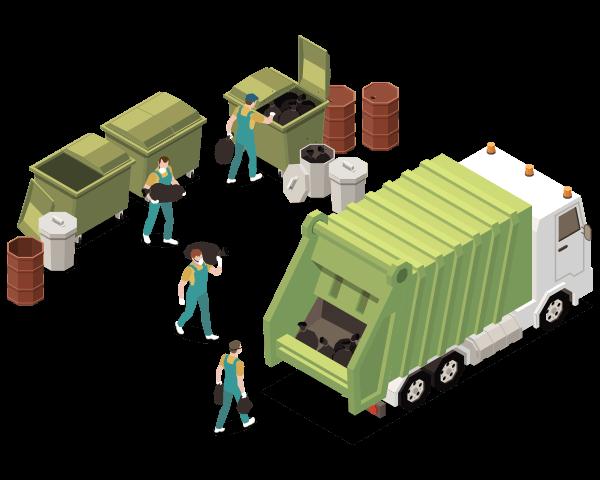 燃やせるゴミはパッカー車で廃棄物を収集